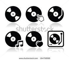 Vinyl record, dj vector icons set