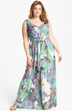 845d47e0ac Suzi Chin for Maggy Boutique Sleeveless Print Maxi Dress (Plus Size)