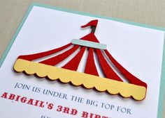 Under the big top birthday, shower invitation.  Circus invitation.