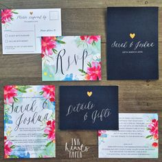 Bright pink blue navy floral watercolor watercolour gold heart wedding invitation suite RSVP response card design Australia handmade custom detail modern unique handwritten script calligraphy font