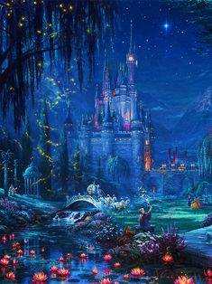 Disney Wallpaper New Cinderella Dancing within the Starlight, by Thomas Kinkade Studios - Images Disney, Disney Pictures, Disney Art, Disney Mickey, Punk Disney, Disney Ideas, Disney Pins, Disney Movies, Disney Characters