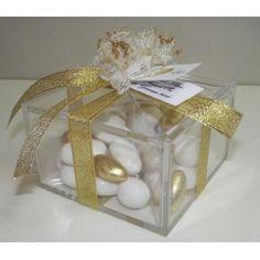 Bomboniera Nozze d' Oro Scatola Plexiglass 10x10x6 con confetti e bigliettino