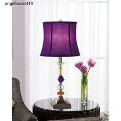 Table Lamp Purple Decorative Accent Crystal Bijoux Base Bedroom Dorm Living  Room #UniversalLightingandDecor #Modern