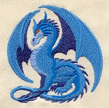 "Embroidery Designs at Urban Threads - Sapphire Dragon (#UT1732) 3.85""w x 2.32""h 10 December 2010"