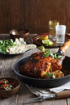 Tandoori roast chicken with apricot coriander chutney