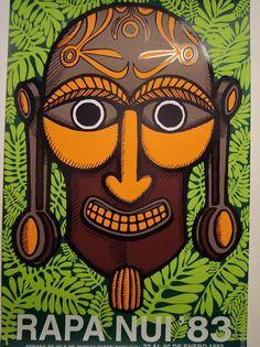 Afiche 3 que anunciaba la semana de Isla de Pascua en Chile Chile, Terra Australis, Easter Island, Stonehenge, Vintage Travel Posters, Cool Posters, Folk Art, Statue, Holiday