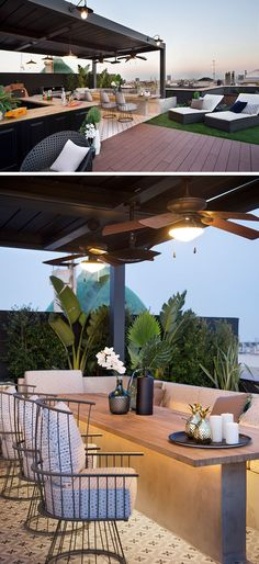 The wood path of this modern rooftop terrace leads to a covered outdoor kitchen . - The wood path of this modern rooftop terrace leads to a covered outdoor kitchen / bar with a woodfi -