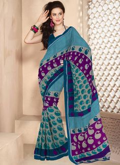 Exuberant turquoise cotton #saree