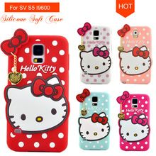 S5 3D Cute Dots Cartoon Hello Kitty Bow TPU Silicone Soft Case Back Cover For Samsung Galaxy S5 SV I9600 S 5 Mobile Phone Bag(China (Mainland))