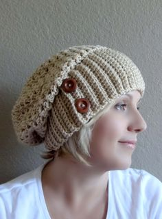 Crochet Slouchy Hat with Wooden Buttons. Buff (Beige) or 43 colors. Women's Hat. Fashion Warm Autumn Fall Winter Accessory. by VividBear on Etsy