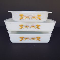 "Fire-King Utility Baking Dishes ""Wheat"" - Set of 3 - Round Cake Pan, Square Cake Pan, Rectangular Utility Pan - Vintage Milk Glass Ovenware by Vetera on Etsy"