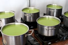 Asparagus Soup in Le Creuset Stainless Steel Stockpots.