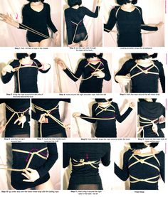 Shibari Tutorial: Horizon Harness ♥ Always practice cautious kink! Dom And Subs, Rope Tying, Rope Art, Boudoir Poses, Neck Scarves, Female Art, Womens Fashion, Model, Bond