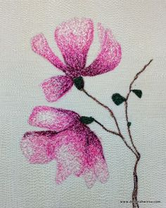 Thread Sketching in Action No 63 - Pink Magnolia - Deborah Wirsu Textile Artist. Watch free machine embroidery and thread painting in action, building up layers of colour with zigzag stitch to create a picture with depth and texture. Claim your free ebook Ten Tips for Successful Creative Thread Sketching by joining my Studio News at https://www.deborahwirsu.com/mailing-list/