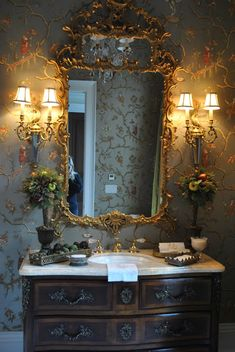 Powder room. Wallpaper. The Enchanted Home guilded gold wall sconces
