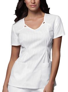 Style Code: (CH-3717) This V-neck top features a cut-out detail at the front neckline, release tucks at the waist, bust darts, and back darts for a flattering fit. Patch pockets and side vents complete this picture.