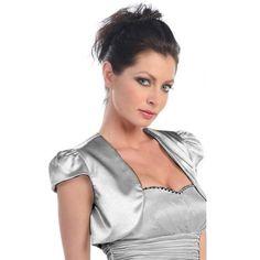 Silver Short Sleeve Satin Style Bolero Shrug Jacket Dancing Queen. $38.99