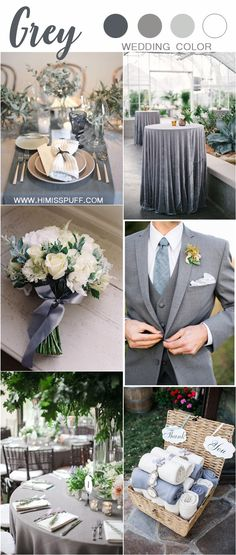 Gray wedding color items and ideas Engagement and Hochzeitskleid - Grey Wedding Theme, Gray Wedding Colors, Wedding Color Schemes, Wedding Themes, Wedding Events, Wedding Flowers, Dream Wedding, Wedding Day, Wedding Color Combinations
