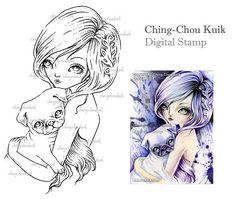 Pug amore - timbro digitale Download immediato /Dog cucciolo fulvo Pug Fairy Girl arte Fantasy di Ching-Chou Kuik