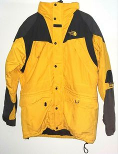 Vintage The North Face Mens M Rare Extreme Light Yellow Black Jacket Hooded #TheNorthFace #Jacket #Casual