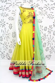 Palkhi Fashion Exclusive Lime Green Silk Outfit with Elegant Handwork On top With Beautiful Design. Anarkali Dress, Pakistani Dresses, Indian Dresses, Indian Outfits, Lehenga, Anarkali Suits, Beautiful Dresses, Nice Dresses, Casual Dresses