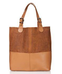 Look at this Marrone Weave-Accent Leather Tote on #zulily today!