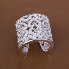 Attractive 925 Silver Plated Heart Open Rings