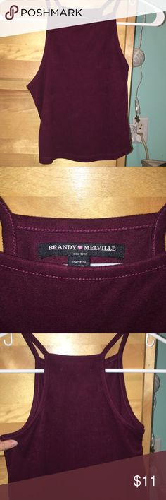 Brandy Melville Maroon Suede Halter Top ONE SIZE! never worn! very comfy Brandy Melville Tops Tank Tops