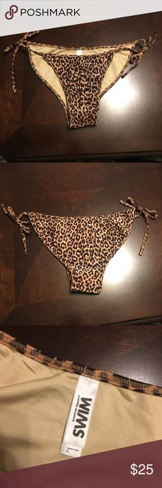 🆕 American Apparel leopard print bikini bottom NWOT (still has the hygienic liner attached) American Apparel leopard print bikini bottoms in a size large. Side ties so fit can be adjusted. American Apparel Swim Bikinis
