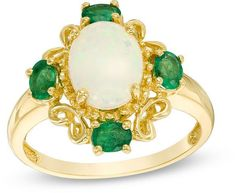 Zales Oval Opal and Emerald Filigree Ring in 14K Gold