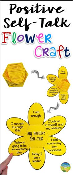 Self Talk Flower Craft Use this paper craft to teach and practice positive self talk and positive thinking.Use this paper craft to teach and practice positive self talk and positive thinking. Self Esteem Activities, Counseling Activities, Art Therapy Activities, School Counseling, Play Therapy, Group Activities, Speech Therapy, Elementary Counseling, Time Activities