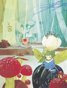 Korean illustrator Chun Eun Sil--reminds me of the fairies from Sleeping Beauty.