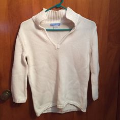 White V neck sweater White. 100% cotton. V-neck. 3/4 sleeve. Super cute but not my size. Never worn White + Warren Sweaters V-Necks