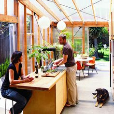 *Now sheets of clear polycarbonate open this dark little bungalow to its garden.*** Sunny bungalow: Addition - Inspiring Small Homes - Sunset Outdoor Rooms, Outdoor Living, Indoor Outdoor, Greenhouse Kitchen, Greenhouse House, Outdoor Greenhouse, Architecture Design, Before After Home, Small House Design