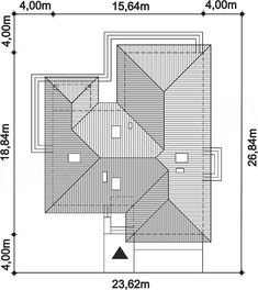 Rzut projektu Padme Modern House Plans, Modern House Design, Autocad, Building Structure, Building A House, Roof Truss Design, Window Grill Design, 4 Bedroom House Plans, Roof Trusses