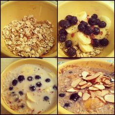 overnight blueberry banana oats -- no yogurt; uses ground flax seed instead.