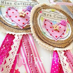 Burlap and lace hen party badges Burlap Crafts, Ribbon Crafts, Fabric Rosette, Rosettes, Hen Party Badges, Sewing Crafts, Sewing Projects, Birthday Badge, Fabric Hearts