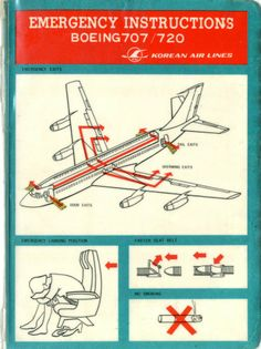 Korean Air Lines 707 and 720 Safety Card @ Carl reese