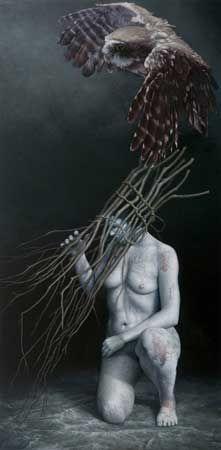 James Guppy, 'Blodeuwedd' 2010, acrylic on linen, 180.5 x 90cm
