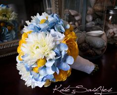 Wedding flowers bouquet bride bridesmaid blue hydrangea with white and yellow Gerbera Bouquet, Hydrangea Bouquet Wedding, Silk Wedding Bouquets, Corsage Wedding, Blue Hydrangea, Bridesmaid Bouquet, Wedding Flowers, Ranunculus, Hydrangeas
