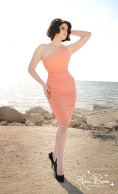 Vivien Dress in Peach Bengaline with Rhinestone Shoulder Detail...As soon as I have the body, this dress is mine!
