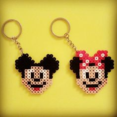 Mickey and Minnie Mouse keychains perler beads by eileenmommy