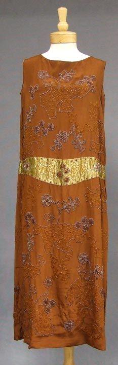 Beaded Sepia Silk 1920s Evening Dress w/Gold Waist/ Tan.