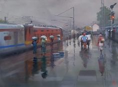 Buy Wet Platform Bilaspur Painting at Lowest Price by Bijay Biswaal Indian Art Paintings, Paintings For Sale, Train Truck, Train Art, Om Namah Shivaya, India Art, Indian Artist, Landscape Photos, Watercolor Art