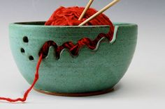 Bridges Pottery Yarn Bowl Knitting Bowl in Weathered Green  IN STOCK featured in VogueKnitting. $50.00, via Etsy.