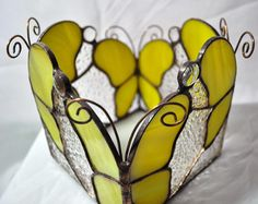 Stained glass Tiffany candleholder butterfly sconce candle stick handmade