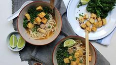 Vegan udon noodle soup with chilli lime roasted tofu