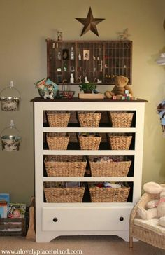 A chest is transformed into a pretty place to store toys in the living room- or in the boys room! Use one of boys old dressers. Furniture Projects, Furniture Makeover, Home Projects, Diy Furniture, Furniture Refinishing, Chair Makeover, Chest Of Drawers Makeover, Furniture Plans, Antique Furniture