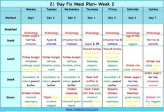 21 Day Fix Meal Plan Week 2