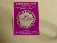 Dan Fogelberg Concert Backstage Pass Woolsey Hall Yale Univ 1 27 76 |